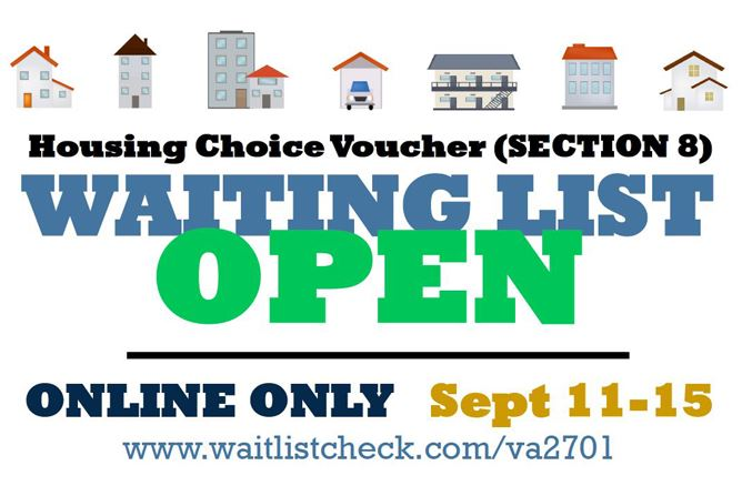 Housing Choice Voucher Section 8 Waiting List Open Online Only Sept 11 15