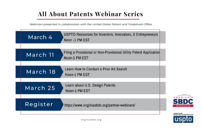 Virginia SBDC/USPTO Webinar graphic